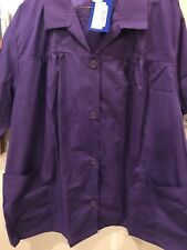 BLAIR SHORT SLEEVE PURPLE TOP BLOUSE SMOCKED WITH POCKETS