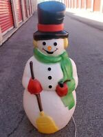 "Vintage Empire Snowman Blow Mold Pipe Broom Plastic Lighted 40"" Tall 1990"