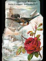 IMAGE CHROMO CHOCOLAT POULAIN / FLEUR ROSE / OISEAU & EGLISE en hiver