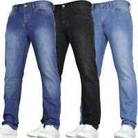 Mens Slim Fit Jeans Heavy Denim Casual Straight Leg Trousers Pants New All Sizes