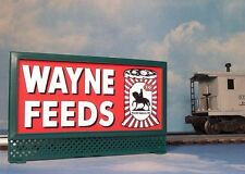 WAYNE FEEDS ALLIED MILLS LIGHTED BILLBOARD AD for AF & LIONEL O / O-27 TRAINS