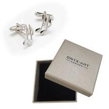 Mens Quaver Music Note Silver Cufflinks & Gift Box By Onyx Art