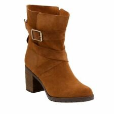 Clarks Stylish Heeled Ankle Boots MALVET DORIS Tan Suede UK 6.5 / 40 RRP £80