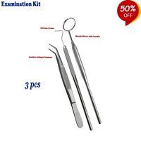 3PCs- Examination Kit Sonden William Pinzette Mundspiegel Hygienic Tooth Examen