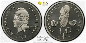 1967 New Hebrides 10 Franc PCGS SP69 Nickel Piefort
