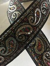 "10 Yards  AWESOME JACQUARD RIBBON TRIM SILVER / MULTI  1"" a very pretty trim"
