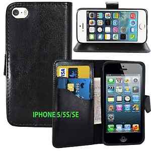 UK BLACK Wallets Leather Case Cover with Card Slots for Apple iPhone 5/5S/5G