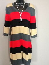 CALVIN KLEIN NWT Red Black Sweater Dress Size Large 12 14 FREE PRIORITY SHIPPING