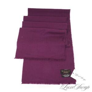 LNWOT Allen Edmonds Extrafine Merino Grape Purple Fringed Flannel Winter Scarf