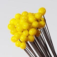 (1) lampwork Czech yellow flower stamen art glass ball crafting headpin bead