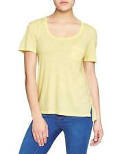 GAP Women's step-hem Pocket tee Raw Rolled Layered Trim Size XL Yellow NEW w TAG