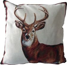 Ex-Chainstore Stag Woven Tapestry Design Cushion Cover