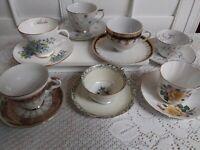 Lot of  7 Various Design China Tea Cup and Saucers sets.