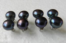 New 4 Pairs 9-10mm Fashion Black Earrings 925Silver Stud Freshwater Pearl