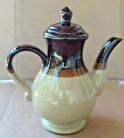 Vintage Brown Tan Stoneware Pottery Teapot Coffee Pot MARKED