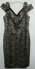Maggy London Gold/Silver Metallic Floral On Black Evening Dress NWT US 6 (UK 10)
