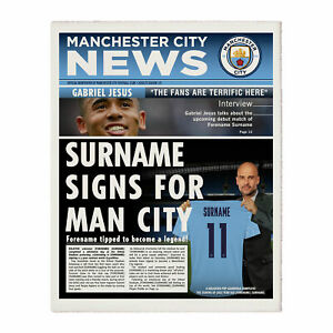 PERSONALISED Manchester Man City FC Gifts Newspaper Front Page Print Official