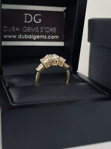 9ct yellow Gold three stone trilogy accent ring size N free postage gift boxed