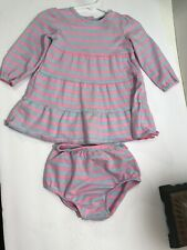 GIRLS Faded Glory Dress with Matching Bloomers SIZE 6-9 MONTHS