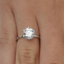 2.00 Carat Round Diamond Engagement Ring 14K White Gold Solitaire Rings Size 5 6