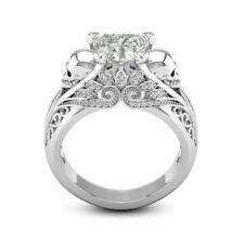 Women Jewelry 925 Silver Heart White Sapphire Wedding Engagement Skull Head Ring