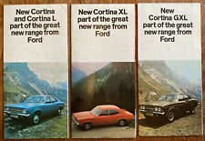 3x Ford Cortina MkIII 1970s Sales Promotional Leaflet L XL GXL Fold Out Brochure