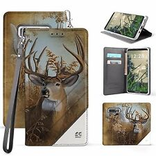 For Galaxy Note 8 In Folio Wallet Diary ID Pouch Case Hunter Deer Buck Image