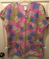 Womens Scrubs By Nick And Sarah V-Neck Size Medium Pink With Flowers Top Heal
