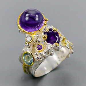 Amethyst Ring Silver 925 Sterling Handmade Jewelry Size 7.5 /R148664