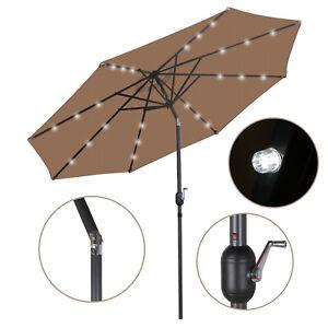 10FT Deluxe Solar 24 LED Lights Patio Umbrella W/ Tilt Adjustment - Tan