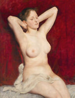 Charming oil painting sexy young woman Super model seated very nice