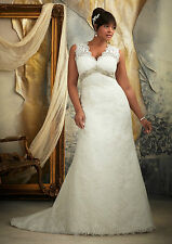 2013 Custom New White/ivory Lace Wedding Dress Bridal Ball gown Plus-Size 4-24