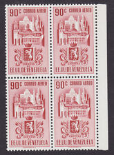 Venezuela Sc C373 MNH. 1951 90c rose brown Air Post, block of 4, VF Buildings