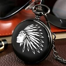 Quartz Western Cowboy Modern Fashion Watch! Mens Pocket Watch Indian Head Black