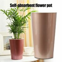 Automatic Self Watering Flower Pots Solid Color Indoor Tall Barrel Lazy Planters