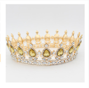 Crown King Queen Medieval Tiara Costume imperial Head Wear Gold Silver Royal