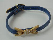 Collare cani Azzurro con strass bianchi e perle 30 cm 9 mm M243