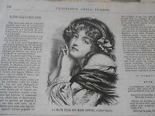 Gravure 1874 - La jeune fille aux mains jointes d'après Greuze