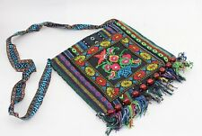 Ethnic Multicolor Embroidered Traditional Folk Style Shoulder Bag with Tassels