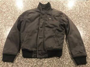 Abercrombie & Fitch Youth Bomber Jacket Harrison Size XL Fur Distressed Faded