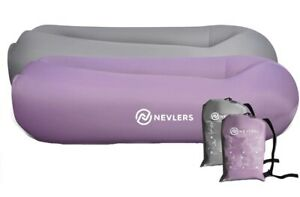 Nevlers Inflatable Lounger w/ Pockets & Travel Bag - 2 Pack, Lavender & Gray NEW
