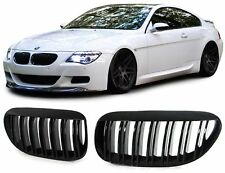 GLOSS BLACK DUAL SLAT GRILLS GRILLES GRILL FOR BMW E63 & E64 6 SERIES NICE GIFT
