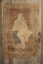 Antique French painted printed tapestry hanging Madonna child scene