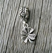 4 Four Leaf Clover Lucky Charm to fit European Bracelet or Necklace Jewelry