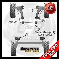 Nissan Micra (K12) (03-09) Powerflex Schwarz Komplett Buchsensatz