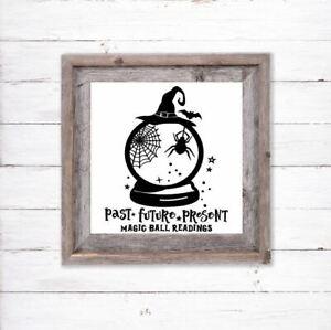 Halloween Vinyl Decal Sticker For Box Frames Shop Window Witch Fortune Teller