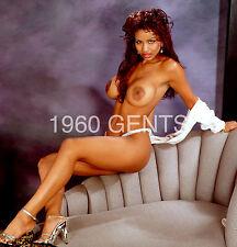 "1980s NUDE 8X10 PHOTO BUSTY BIG NIPPLES EBONY PINUP ""CONI""  FROM ORIGINAL NEG-3"