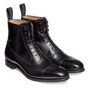 Men's Handmade Genuine Black Leather Cap Toe Lace Up Ankle Boots