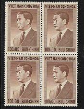 South Vietnam 1956 100pi Pres Ngo Din Diem, Block of 4 OG SC# 50, MNH, VF