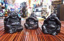 Set of 3 Wise Happy Fat Buddha Hear See Speak No Evil Resin 7x7cm Each Ornament